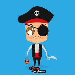 Boy With Pirate Halloween Costume Isolated