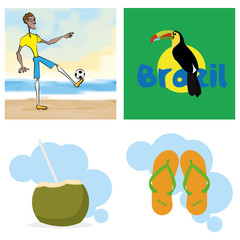 Brazil Cartoon Illustrations Editable With Background