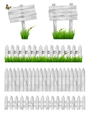 Set of white wooden signs and a fences with grass. Vector