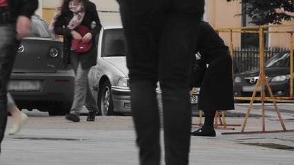 Beggar woman on the street