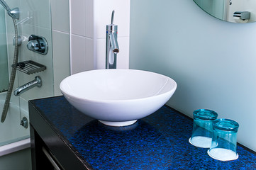 Bathroom sink counter tap mixer glass blue