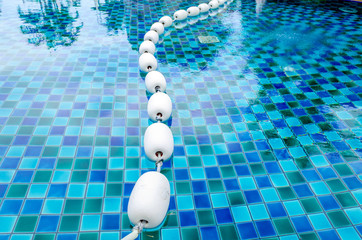Buoys floating in the pool