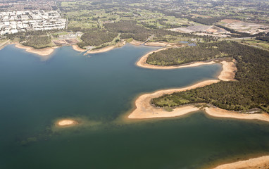 Aerial view over lake
