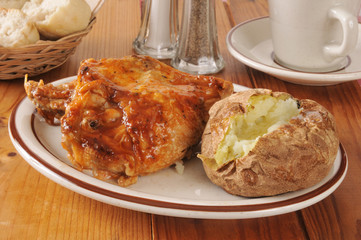 BBQ chicken and baked potato