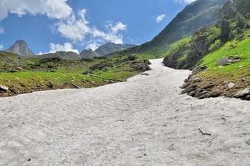 Summer snow in Carpathians mountains