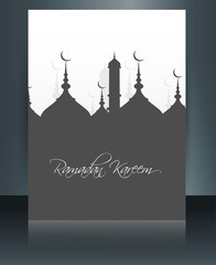 Template brochure Ramadan Kareem Mosque reflection background ve