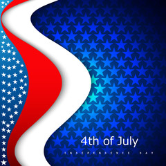 Beautiful 4th of july United States of America with stylish wave