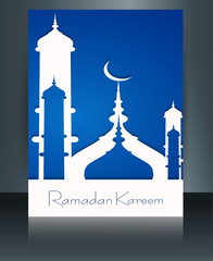 Mosque ramadan kareem concept for muslim community brochure temp