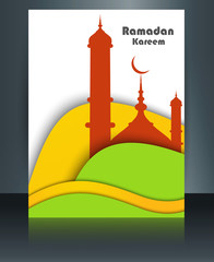 Vector template Mosque brochure with colorful wave Ramadan Karee