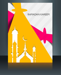 Mosque ramadan kareem brochure template creative concept reflect