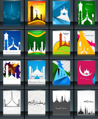 Mosque with colorful Ramadan Kareem collection colorful brochure