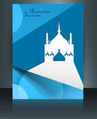 Brochure template ramadan kareem bright blue colorful creative r