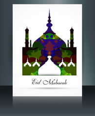 Eid mubarak card grunge colorful reflection brochure mosque vect