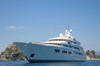 Luxury large super or mega motor yacht in the blue sea. - 66730390