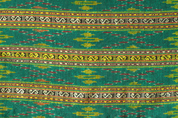 Hand-woven cotton cloth in traditional Thai pattern