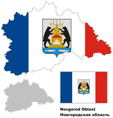 outline map of Novgorod Oblast with flag