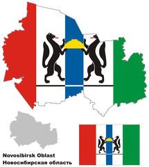 outline map of Novosibirsk Oblast with flag