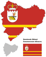 outline map of Smolensk Oblast with flag