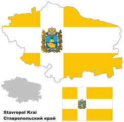 outline map of Stavropol Krai with flag