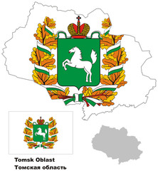 outline map of Tomsk Oblast with flag