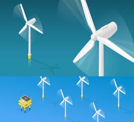 Éolienne offshore en perspective isométrique