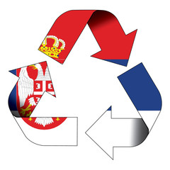 Recycle symbol flag - Serbia