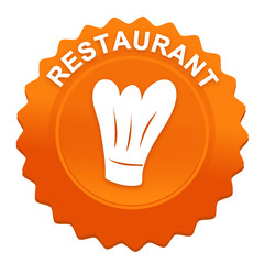 restaurant sur bouton web denté orange