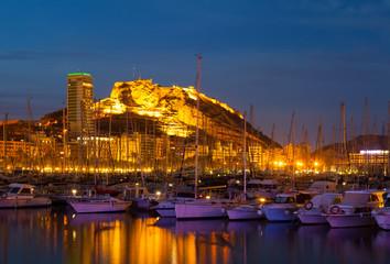 View of port  in night. Alicante