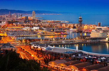 Port in Barcelona during evening. Spain