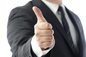 親指を立てるビジネスマン