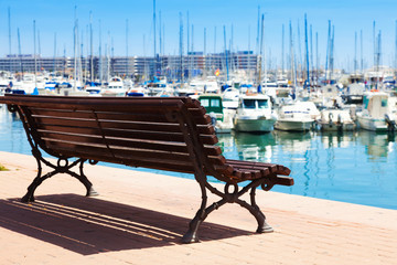embankment in Alicante. Focus on bench