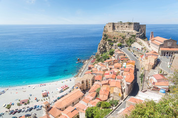 View over Scilla with Castello Ruffo, Calabria, Italy
