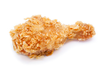 crispy fried chicken on white background