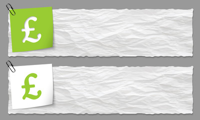 set of two banners with crumpled paper and pound symbol