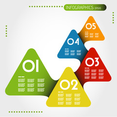 colorful rounded infographic triangles