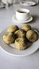 Traditional Malay cake known as Kuih Bom on white plate