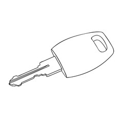 Sketch line drawing of keys isolated illustration