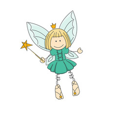 Cute little fairy with magic wand.
