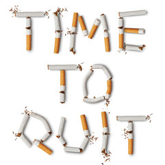 Text ''time to quit'' made from broken cigarettes