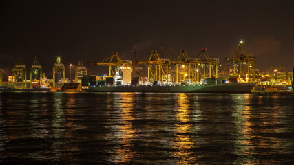 Port of Singapore Authority Industrial Scene Time Lapse at Night