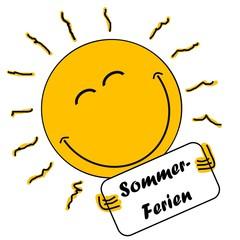 """Lachende Sonne zeigt das Schild """"Sommerferien"""""""