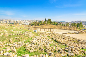 Ruins of Oval Forum in Gerasa, modern Jerash, Jordan.