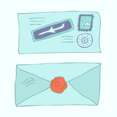 postage envelope with stamps vector illustration, hand drawn