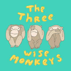 Three monkeys vector illustration, hand drawn