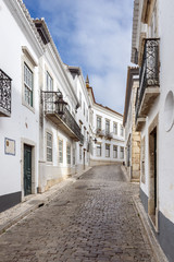 The street in historic center of Faro, Portugal