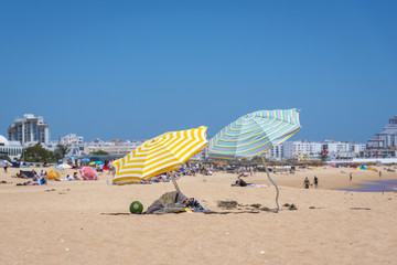 Colorful umbrellas on Vilamoura beach