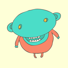 cute zombie-boy (character monster) vector illustration