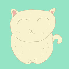 cute  cartoon cat (kitten) screwed-up eyes vector illustration