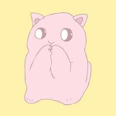 cute  cartoon cat (kitten) vector illustration, hand drawn