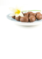 chocolate ball with white flower